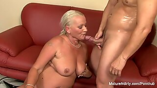 Busty blonde grandma takes it in the ass