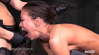 slim japanese slut fucked hard by lezdom belt cock