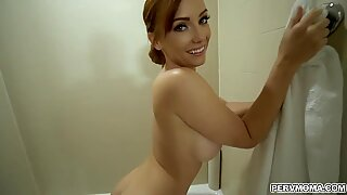 Hot stepmom Dani Jensen was caught by her stepson pleasuring her self in the bathtub and ended up doggystyle fucking with him.